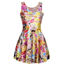 Adogirl 6 Models New Fashion 2016 Funny Emoji Leisure Women Summer Dress Cartoon Cute Skater Dresses