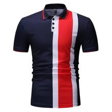 Vertical Stripes Men Polo Shirt Mens Clothing Loose Short sleeve Tops Tees Summer Navy black