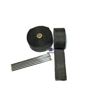 """Image 5 - 15 メートル黒排気ラップターボ熱マニホールドヘッダオートバイ排気ラップテープバイク排気グラスファイバーテープ 2 """"× 50ft"""