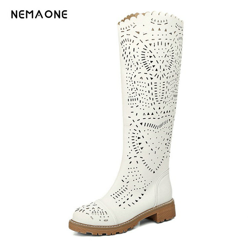 NEMAONE Womens knee high women Summer boots sexy fashion low square heel Ladies gladiator boots cut-outs summer shoes