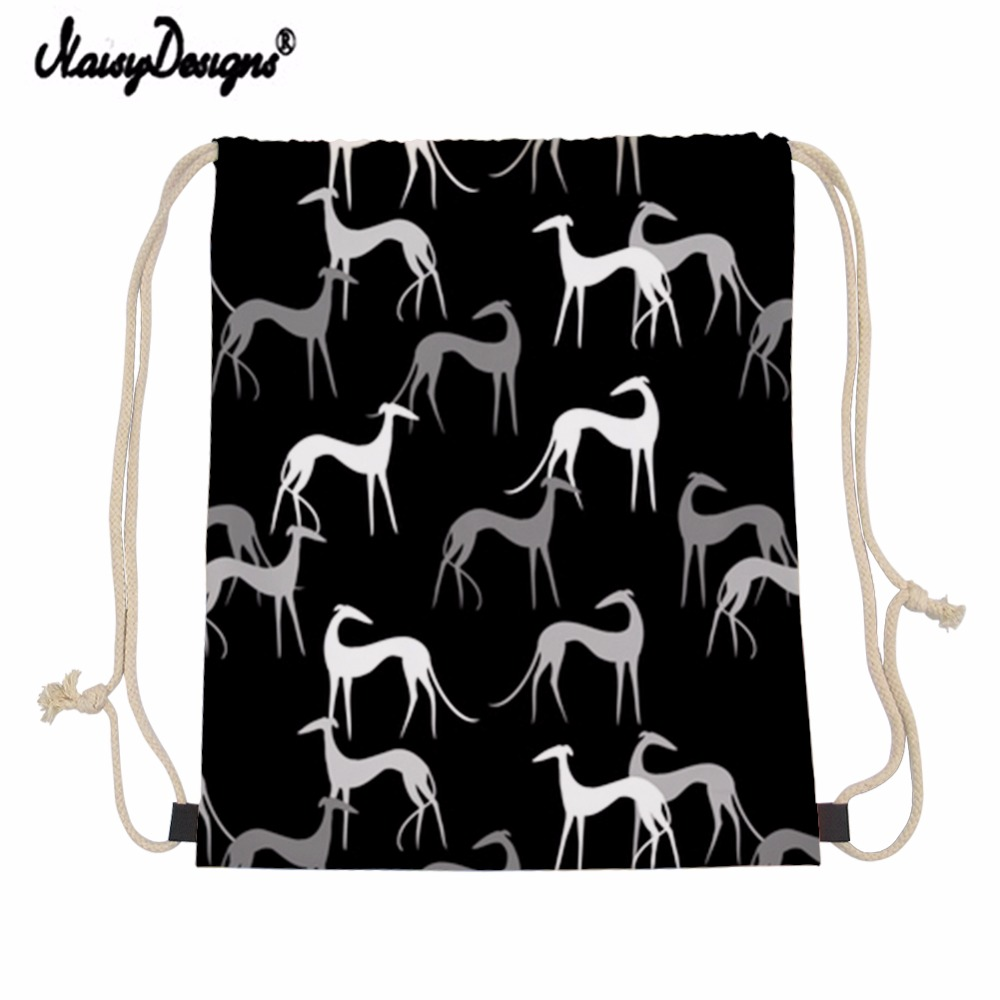 Noisydesigns Black Greyhound Dogs Drawstring Bag Children Backpacks For Teenager Girls Small Storage Bags Daily Backpack Mochila