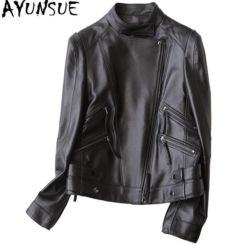 AYUNSUE Women Real Leather Jacket 100% Genuine Sheepskin Coat Female Motorcycle Black Short Coats Spring Jackets 22287 WYQ1185