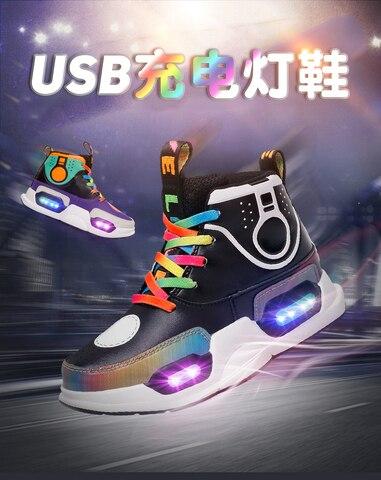 Meninos de Carga Alta Qualidade Tamanho 7 Cores Criança Luminosa Tênis Brilhantes Usb Levou Sapatos Meninas Calçados Chinelos Levaram Eur 28-37