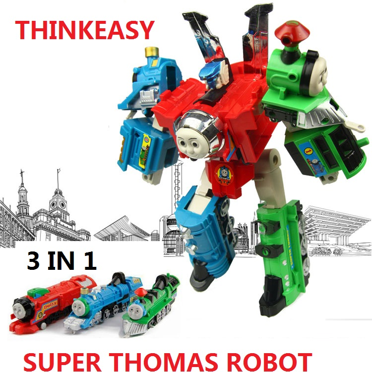 3 IN 1 Super transformation thomas and friends figure toys with package Children puzzle Figures for Birthday Gift Kids Toy set with package 6 pcs set transformation robot cars and bruticus toys action figures block toys for kids birthday gifts