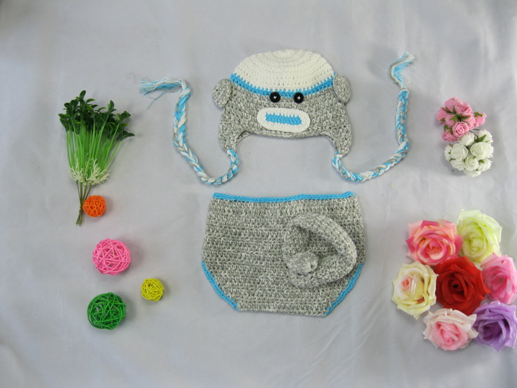 Free shipping,Newborn baby crochet hat diaper cover Neonatal photo prop photography,100% handmade baby Monkey hat