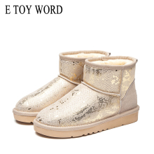 E TOY WORD booties woman 2019 New Thick plush snow boots leather women Flat non-slip warm women cotton boots winter shoes цены онлайн