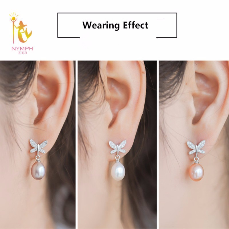 NYMPH natural pearl earrings fine Jewelry S925 sterling silver freshwater black pearl earrings trendy butterfly E1045