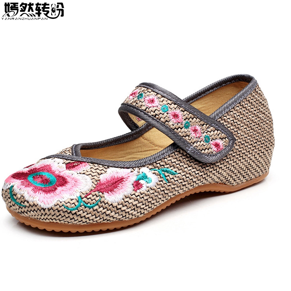 Women Flats Shoes Embroidery Flower Shoes Old Peking Mary Jane Female Casual Demin Driving Dance Ballet Shoes Gray Plus Size 43 peacock embroidery women shoes old peking mary jane flat heel denim flats soft sole women dance casual shoes height increase