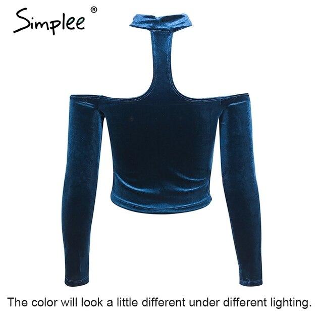 Simplee Sexy off shoulder velvet t-shirt women tops Elegant long sleeve halter crop top Female casual autumn winter top tees