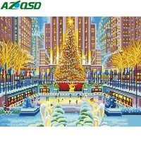 AZQSD Full Kits Light LED Diamond Painting Scenic Christmas Gift DIY Diamond Embroidery Sale Winter Park Framed Wall Art
