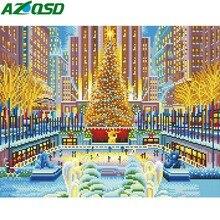 AZQSD Voll Kits Licht LED Diamant Malerei Scenic Weihnachten Geschenk DIY Diamant Stickerei Verkauf Winter Park Gerahmte Wand Kunst