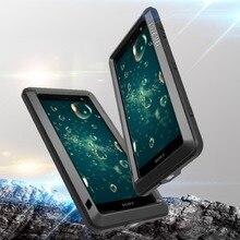 Feitenn Heavy Duty Cassa Del Telefono di Protezione per Sony XZ2 Armatura In Metallo In Vetro Temperato Del Telefono Del Respingente Del Silicone Antiurto Copertura di Alluminio
