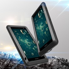 Feitenn Heavy Duty Protection Phone Case for Sony XZ2 Armor Metal Tempered Glass Phone Silicon Bumper Shockproof Aluminum Cover
