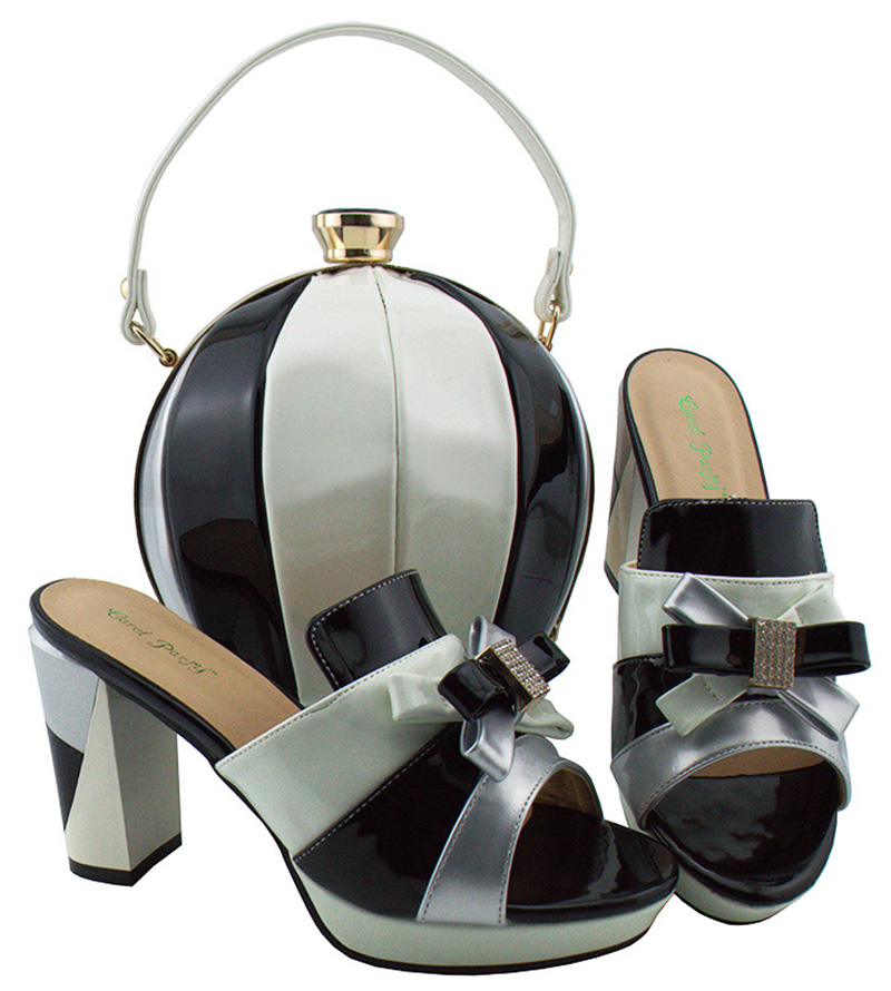 Beautiful Design Ladies Shoes Italian Shoes With Matching Bags Good European Sale And Bags Define With Stones MD003