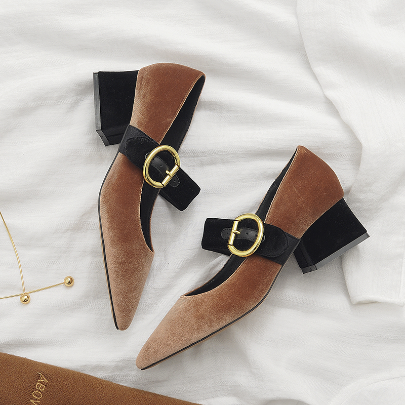 Krazing Pot New fashion brand spring shoes black pointed toe velvet thick heel women pumps party mary janes office lady shoe 6-3 2017 new fashion brand spring shoes large size crystal pointed toe kid suede thick heel women pumps party sweet office lady shoe