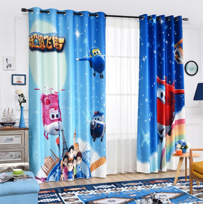 Blue S Cartoon Window Curtain Living Room Boys Children Bedroom Sheer Cloth Kids Cortina Para Sala Window Treatment 70% Shade ...