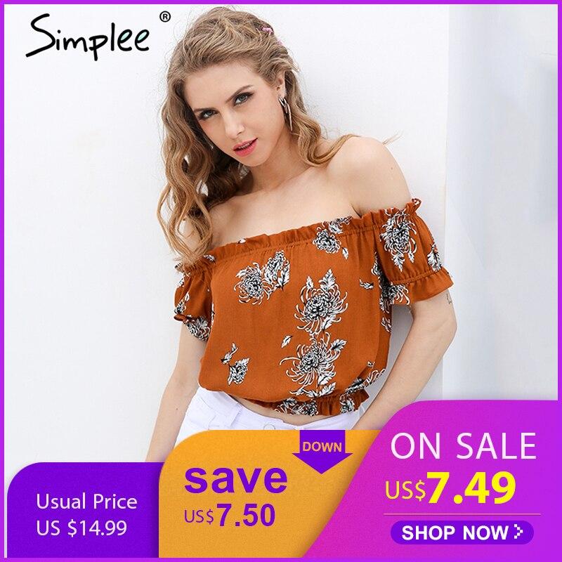 Simplee Sexy off shoulder print   blouse     shirt   Elegant short sleeve flower soft   blouse   blusas women tops Summer casual streetwear