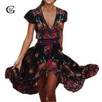 2016 Retro Summer Dress Maxi Bohemian Ethnic Sexy V Neck Floral Print Tassel Vestidos Beach Dresses