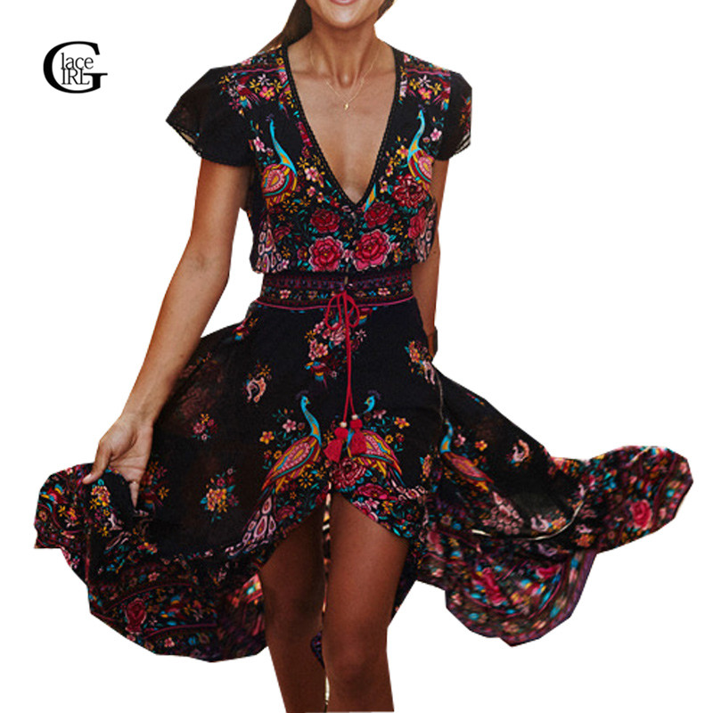 LaceGirl 2017 Summer Women Long Flower Dresses Retro Bohemian Maxi Dress V neck Floral Printed Boho