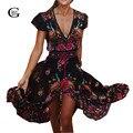 Lacegirl 2017 vestido largo flower dress retro bohemio maxi dress sexy v-cuello de la impresión floral vestidos de playa boho hippie étnico túnica