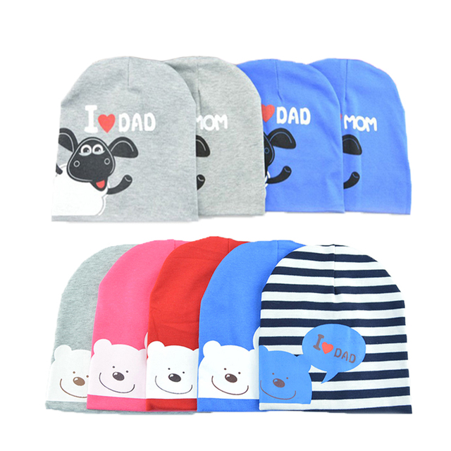 Hot Cotton Baby Hat Caps For Boys Girls Knitted Warm Beanies Baby I LOVE  DAD MAMA a454e501494d