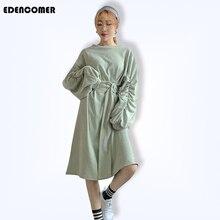 EDENCOMER 2019 Spring Design Sense Belt Thick Korean Version of Lantern Sleeve Length Dresses Casual Dress Vestidos