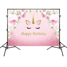 Unicorn Theme Banner Background Birthday Party Photography Backdrop Red Flowers and Pink Backgrounds Vinyl Cloth