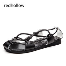 Men Fashion Sandals Summer Men's Genuine Leather Beach Sandals Casual Men Shoes Solid Rome Style Sandals Lace Up High Quality krusdan 2017 high quality summer style man casual flat heel shoes genuine leather beach slipper fashion men s roman sandals