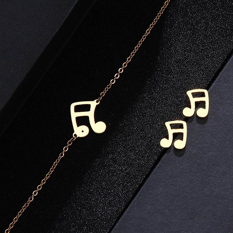 Stainless Steel Set Musical Notes Necklace Bracelets Earrings IMG_1644