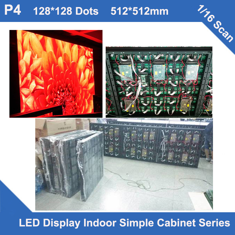 TEEHO P4 indoor simple Cabinet led display 512mm*512mm 1/16 scan module fixed installation not movablevideo advertising led signTEEHO P4 indoor simple Cabinet led display 512mm*512mm 1/16 scan module fixed installation not movablevideo advertising led sign