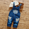 Soft and Comfurtable girls' and boys' denim trousers autumn winter letter M patchwork bib pants Character rompers jumpsuits