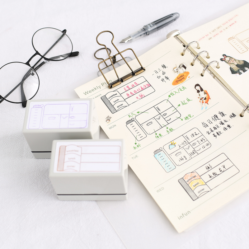 1pc Schedule Health Live Dinner Pattern  Wooden Rubber Stamp Photosensitive Seal  Kids DIY Handmade Scrapbook  Students Stamp