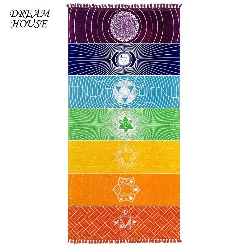 Rainbow Chakra Tapestry Mandala Beach Towel Mat Stripes Bohemia India Mandala Blanket Summer Mandala Tapestry Wall Hanging Mat