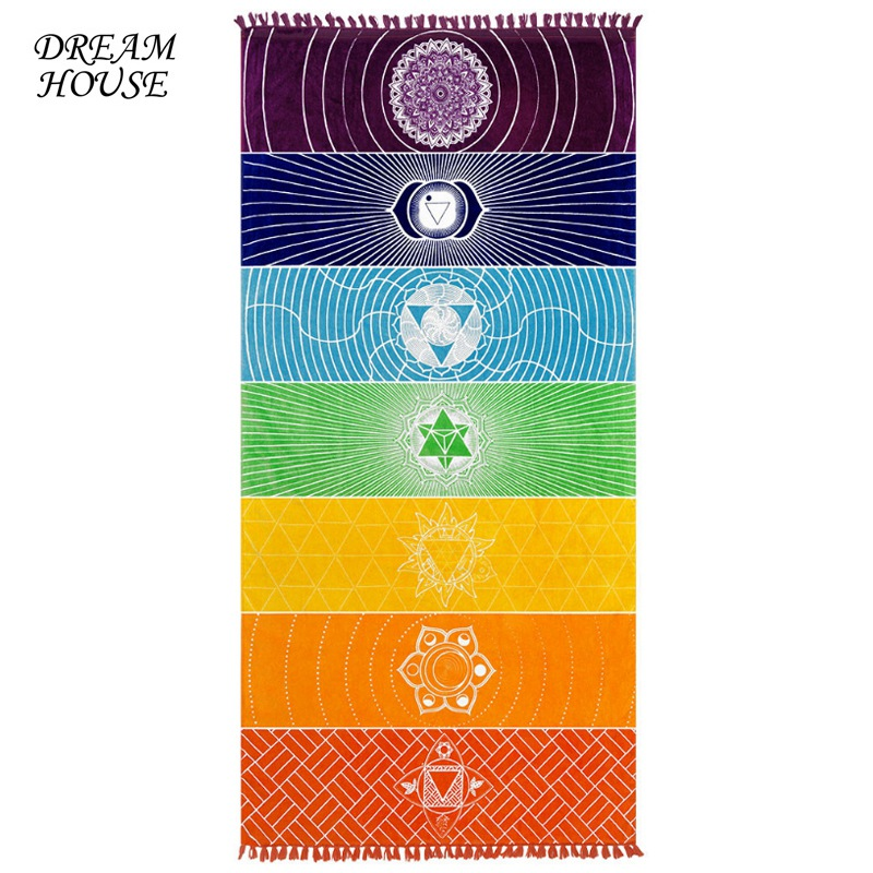 Rainbow Chakra Tapestry Mandala Beach Towel Mat Stripes Bohemia India Mandala Blanket Summer Mandala Tapestry Wall Hanging Mat