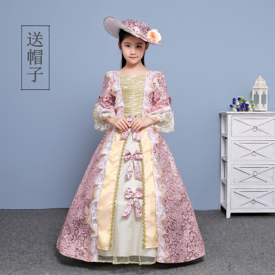 Free ship children's girls medieval royal princess dress with hat stage lace flower renaissance gown dress Halloween