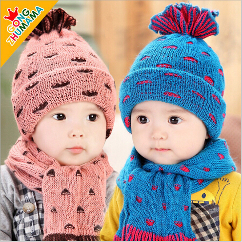 269d5cd912d1a Hot Sale Cute Baby Winter Knitted Scarf Warm Cap Boy Lovely Beanie Children Hats  Scarf Set Children Accessories  15091505