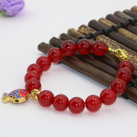 10mm round red beads natural stone chalcedony jades strand beaded cloisonne bracelets party wedding charms jewelry 7.5inch B2723