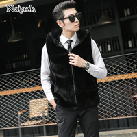 NATAZH Autumn Winter Mens Fashion Faux Fur Vest Coat Sleeveless Jacket Men Top Male Warm Waistcoat