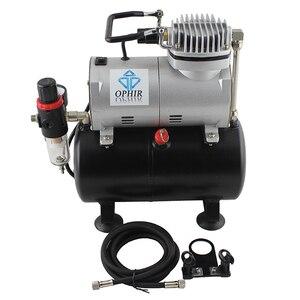 Image 2 - OPHIR Çift Eylem Tek Eylem hava fırçası seti Tankı ile hava kompresörü Hava Fırça Tabancası Model Hobi Tırnak Art_AC090 + 004A + 071 + 069