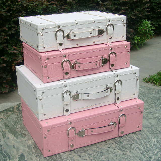 Fashion vintage suitcase storage box suitcase wooden box pink ...