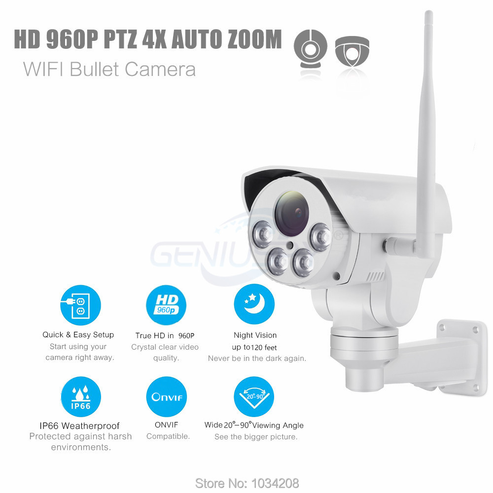 HI3518C+AR0130 960P Wifi PTZ IP Camera HD Bullet Outdoor 4X Zoom Pan Tilt 2.8 12mm 1.3MP Wireless IR Onvif SD Card Camera