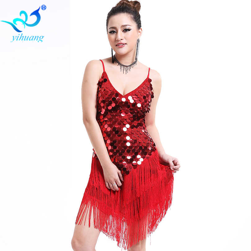 355d71175a81 Latin Dance Costume Dress Performance Ballroom Salsa Rumba Outfits Stage  1920s Flapper Gatsby Dress Party Sequins