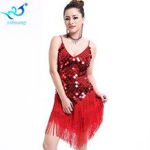 Round Sequins Latin Dance Dress Women Strap V Neck Tango Ballroom Salsa Dance Dress Party Costume Dancewear Tassel Strap Dresses недорого