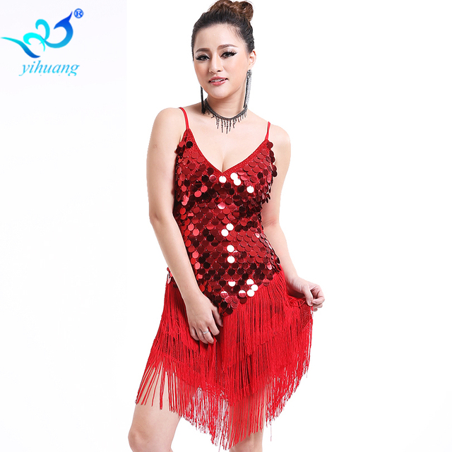 7d9e76db1eb1 Latin Dance Costume Dress Performance Ballroom Salsa Rumba Outfits Stage 1920s  Flapper Gatsby Dress Party Sequins