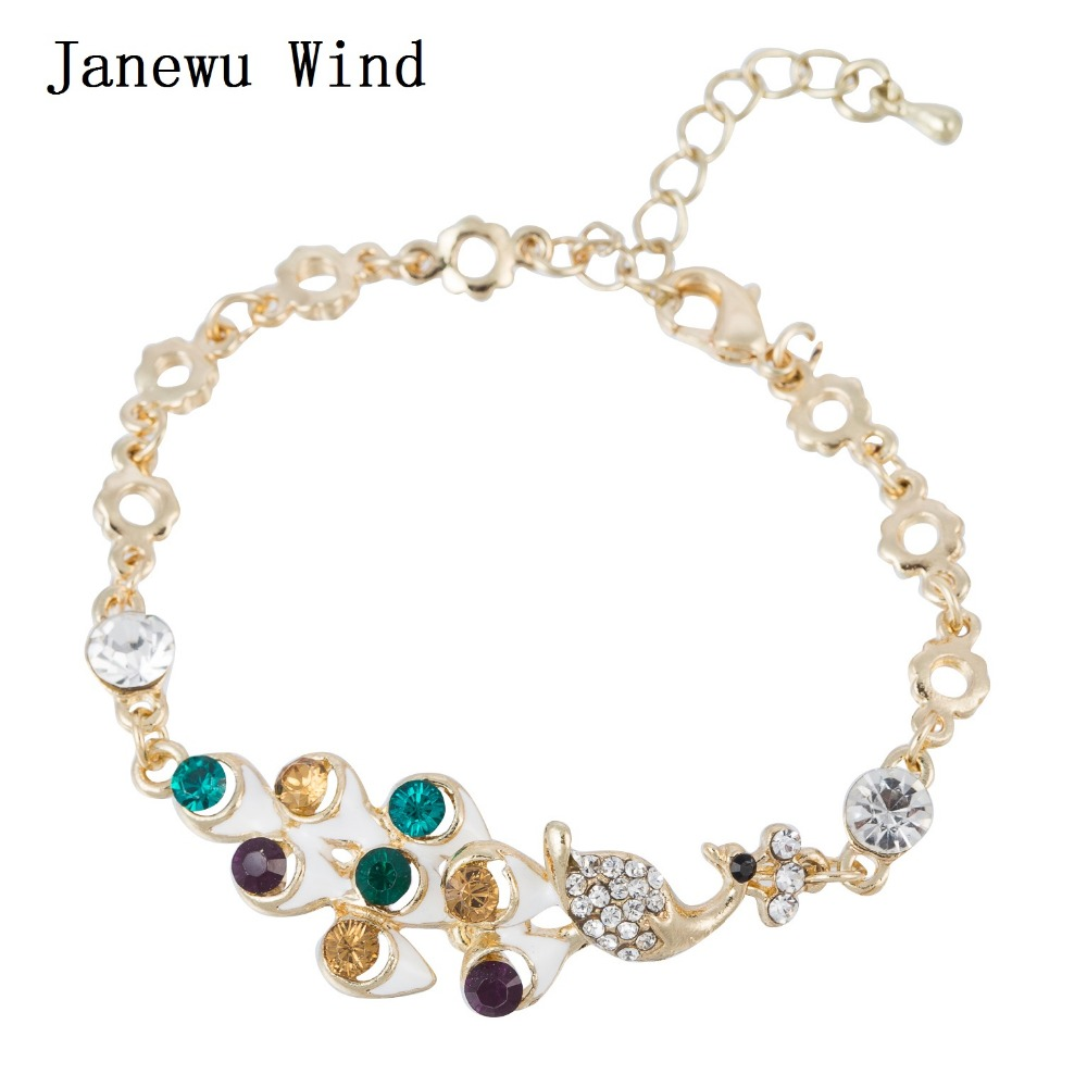 Janewu Wind gold color chain colorful Crystal Bracelet female colorful feather white Peacock charm Bracelet for women gift