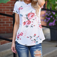 t shirt Short sleeves Print Floral O-Neck summer t-shirt women Fashion popular tee femme white blue vogue