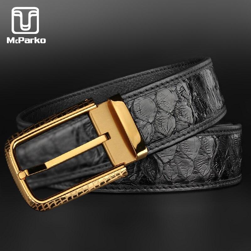 McParko Snakeskin Belt For Men Luxury Brand Genuine Leather Belt Men PYTHON Skin Waist Strap Elegant