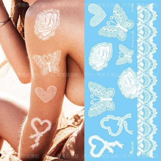 Online Shop 1pc Hot Lace Design Flash White Henna Tattoo Stickers