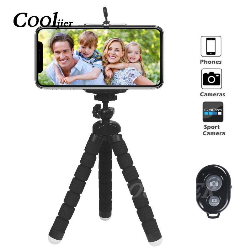 COOLJIER Flexible Sponge Octopus Mini Tripod With Bluetooth Remote Shutter For iPhone mini Camera Tripod Phone Holder clip stand otomatik çadır