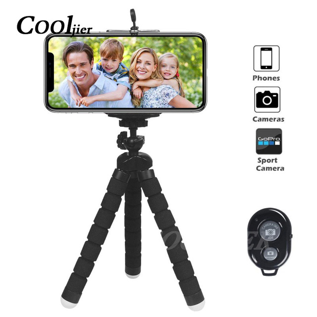 COOLJIER Flexible Sponge Octopus Mini Tripod With Bluetooth Remote Shutter For iPhone mini Camera Tripod Phone Holder clip stand